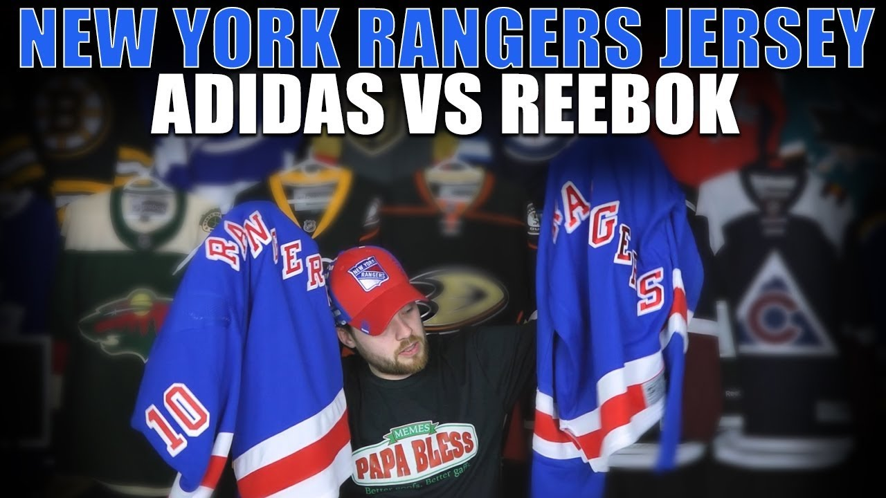 hot sales 32259 f09fb New York Rangers Adidas vs Reebok Jersey Comparison + Patreon Stuff