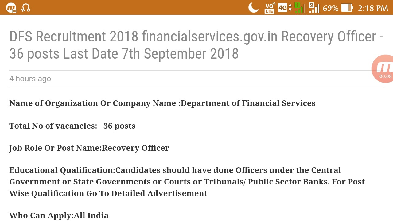dfs recruitment 2018 recovery officer