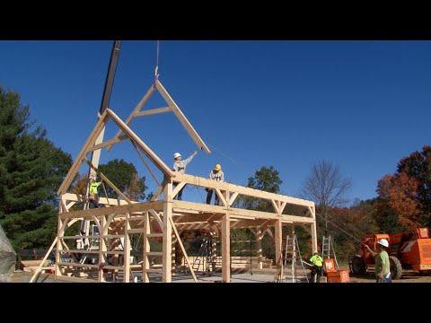 Post & Beam Carriage Barn Raising In Burlington, CT
