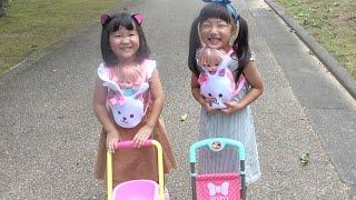 メルちゃん おせわごっこ ベビーカーと抱っこひもでお散歩!おままごと【こはるはるコラボ】Mell-Chan baby cart toy