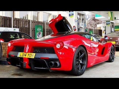 FERRARI LaFerrari at the Gas Station! Start Up + Acceleration + Ferrari ENZO