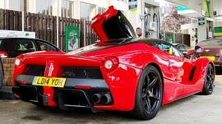 FERRARI LaFerrari at the Gas Station! Start Up + Acceleration + Ferrari ENZO