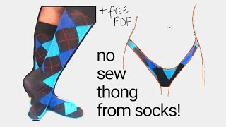5 minute DIY Thong From Socks NO SEW 2 in 1 tutorial STEP by STEP plus PDF