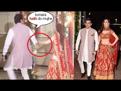 Arbaaz Khan's CUTE Moment Asking Girlfriend Georgia To Hold His Hand @Shilpa Shetty's Diwali Party