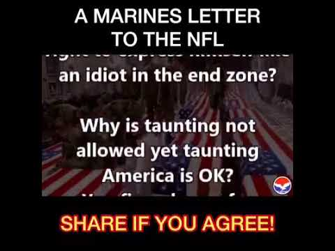A letter from Retired Marine Colonel Jeffrey A. Powers regarding NFL players protesting on the field