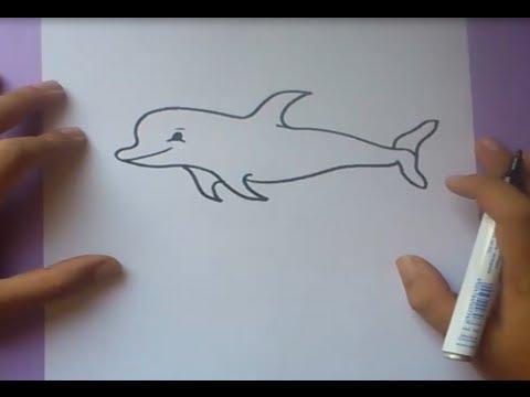 Como dibujar un delfin paso a paso  How to draw a dolphin  YouTube