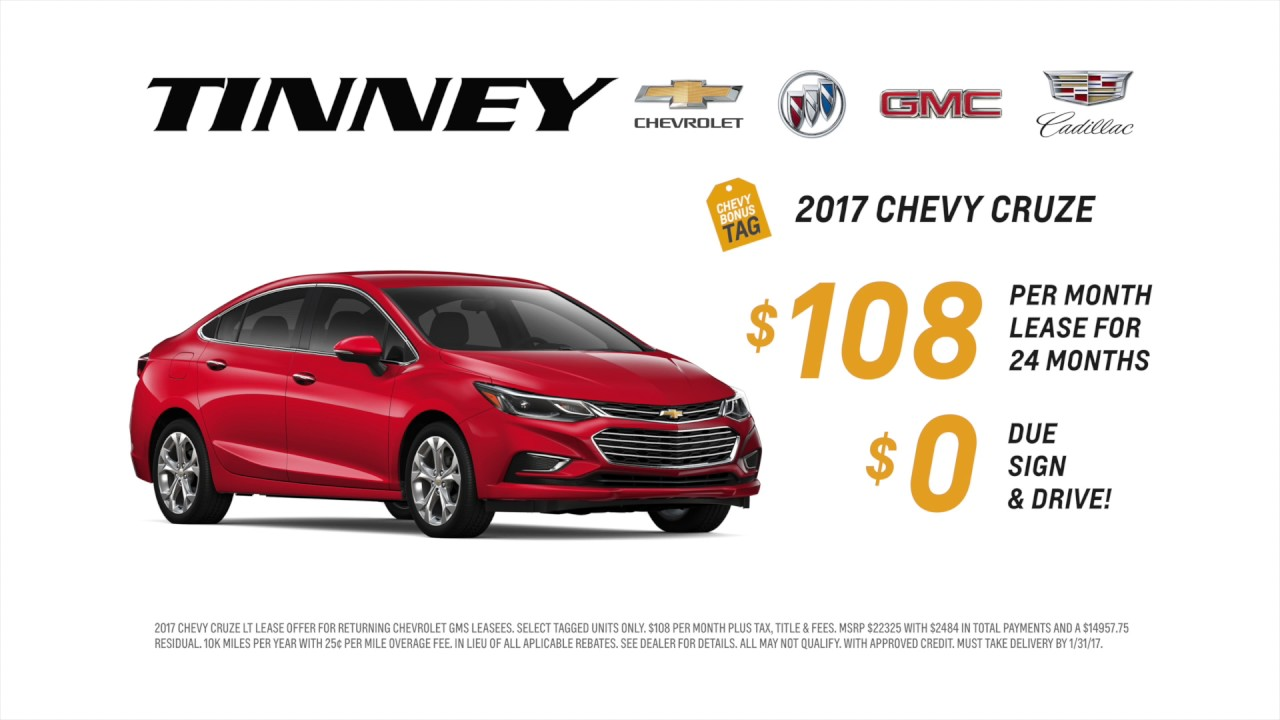 2017 chevy cruze special lease price at tinney automotive youtube. Black Bedroom Furniture Sets. Home Design Ideas
