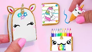 DIY: Miniature UNICORN School Supplies ( Backpack, Notebook, Pen, Pencil case) REALLY WORKS thumbnail