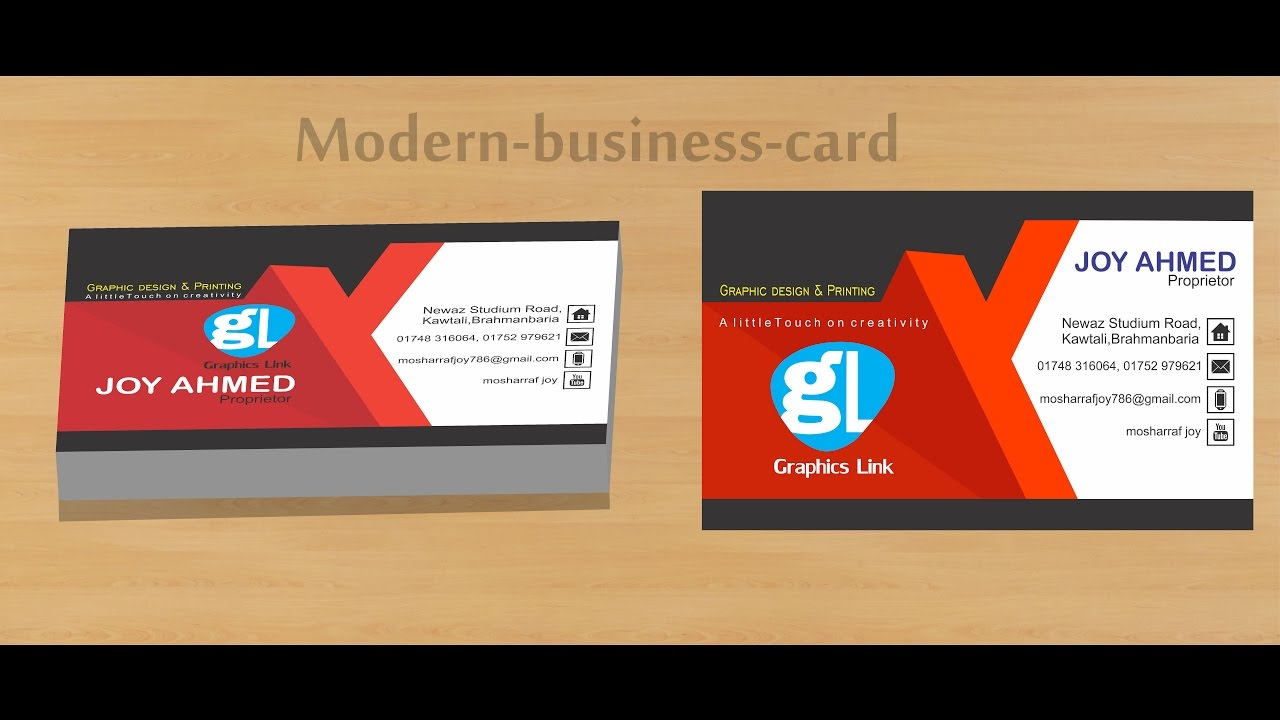 How To Create Modern Business Card With Red Black Youtube