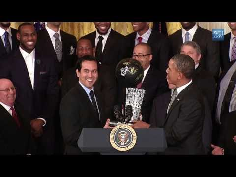 2014 NEW - Obama honors Miami Heat (2013 NBA Champions) in White House