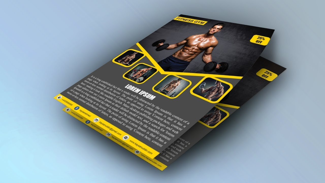 How to create GYM Brochure Design in Illustrator cc 2018|Fitness ...