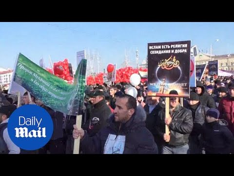 Thousands march against Charlie Hebdo in Chechnya - Daily Mail