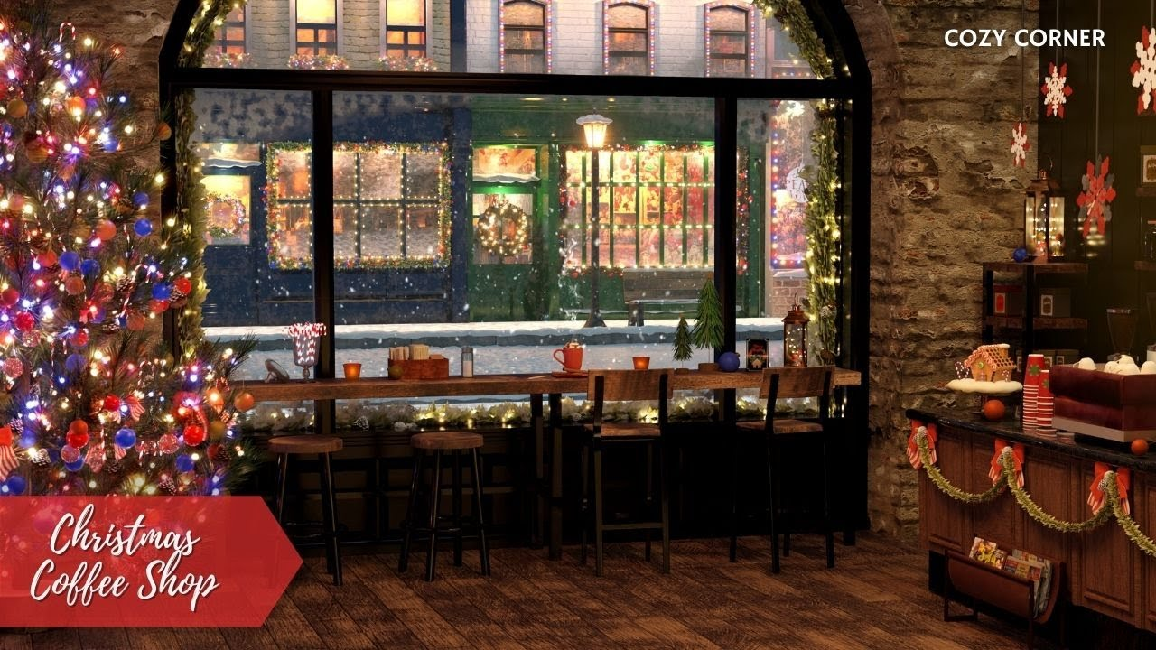 Cozy Christmas Coffee Shop Ambience with Smooth Christmas Jazz Music