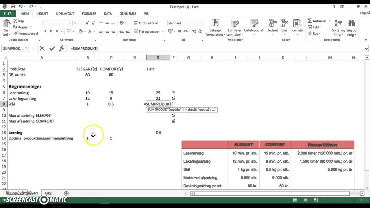 Lineær programmering Excel