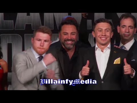 AMPED UP CANELO THROWS 3 PUNCH COMBO IN FRONT OF GOLOVKIN AFTER INTENSE FACE OFF IN NEW YORK