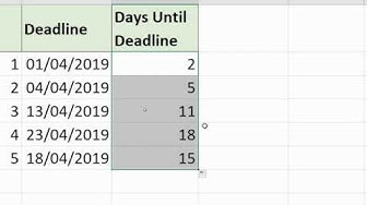 Number of Working Days until Deadline - Excel Formula
