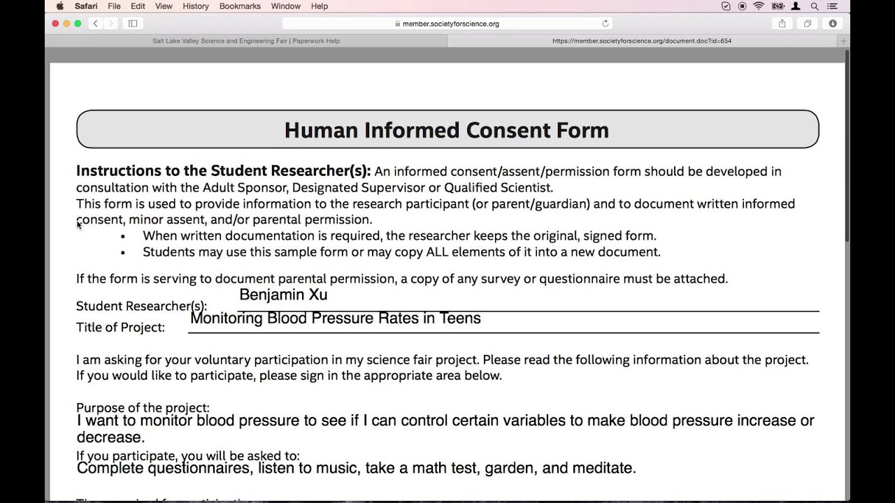 Informed Consent Form | Isef Paperwork Help Human Informed Consent Form Youtube