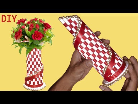 DIY Paper Flower Vase | Flower Vase Making At Home | Simple Paper Craft | Art craft and ideas by SD