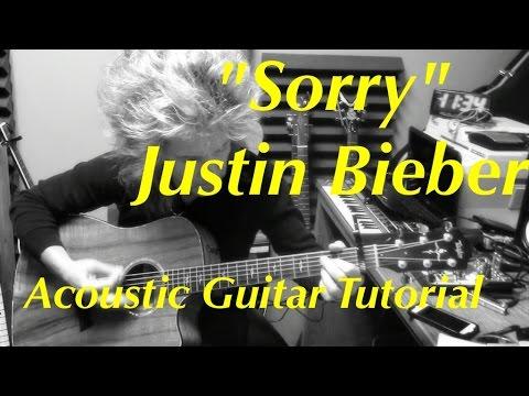 """Sorry"" Justin Bieber - Acoustic Guitar Tutorial (Ellen Show)"