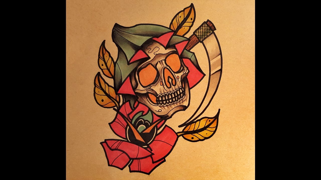 Grim Reaper Traditional Tattoo: How To Draw A Neo Traditional Grim Reaper By