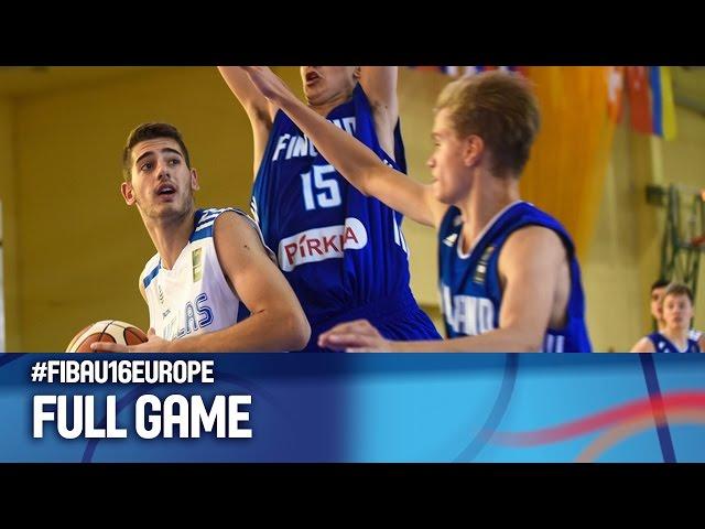 Ευρωπαϊκό Πρωτάθλημα Παίδων | Video ΕΛΛΑΔΑ - Φινλανδία 67-74 (GRE-FIN 12.08.2016) FIBA U16