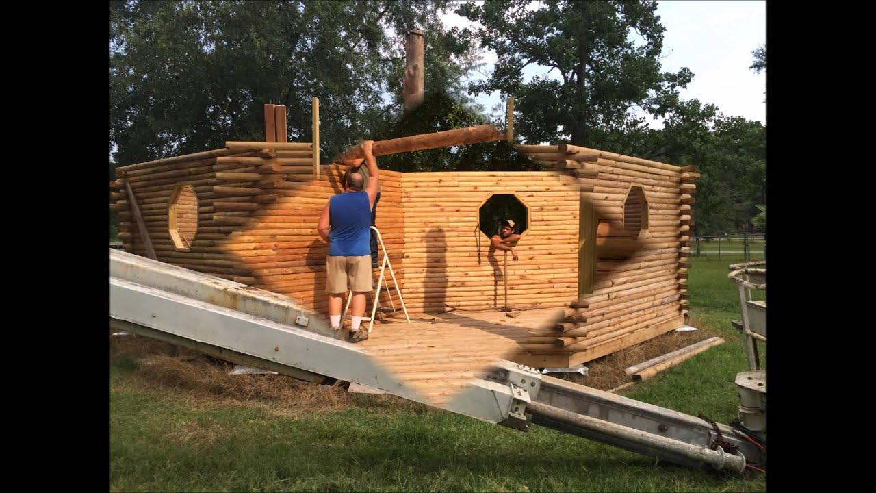 Octagon log cabin slide show short youtube for Octagonal log cabin plans