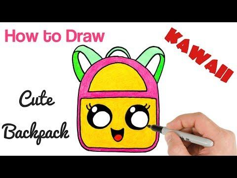 How to Draw Cute Backpack Kawaii school drawings for kids