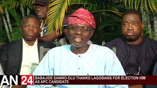 BABAJIDE SANWO OLU THANKS LAGOSIANS FOR ELECTION HIM AS APC CANDIDATE