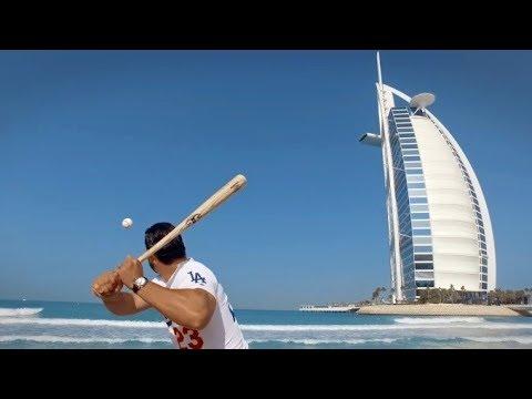 LA Dodgers Adrian Gonzalez takes baseball to the beach in Dubai - Visit Dubai