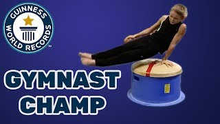 Most double leg circle rotations on a mushroom trainer in one minute - Guinness World Records