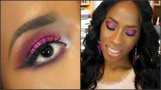How To | Sexy Pink Smokey Eye! & Peachy Lips For Black Women