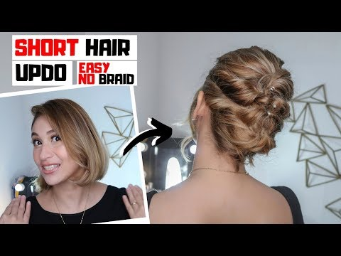 EASY UPDO HAIRSTYLE FOR SHORT HAIR | Fast 1 Minute Hair Tutorial | Lolly Isabel thumbnail
