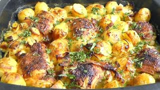 Honey Chicken & Roasted Potatoes Leeks In Tarragon Sauce How To Cook Recipe