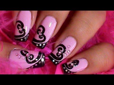 pink black hearts nail art design