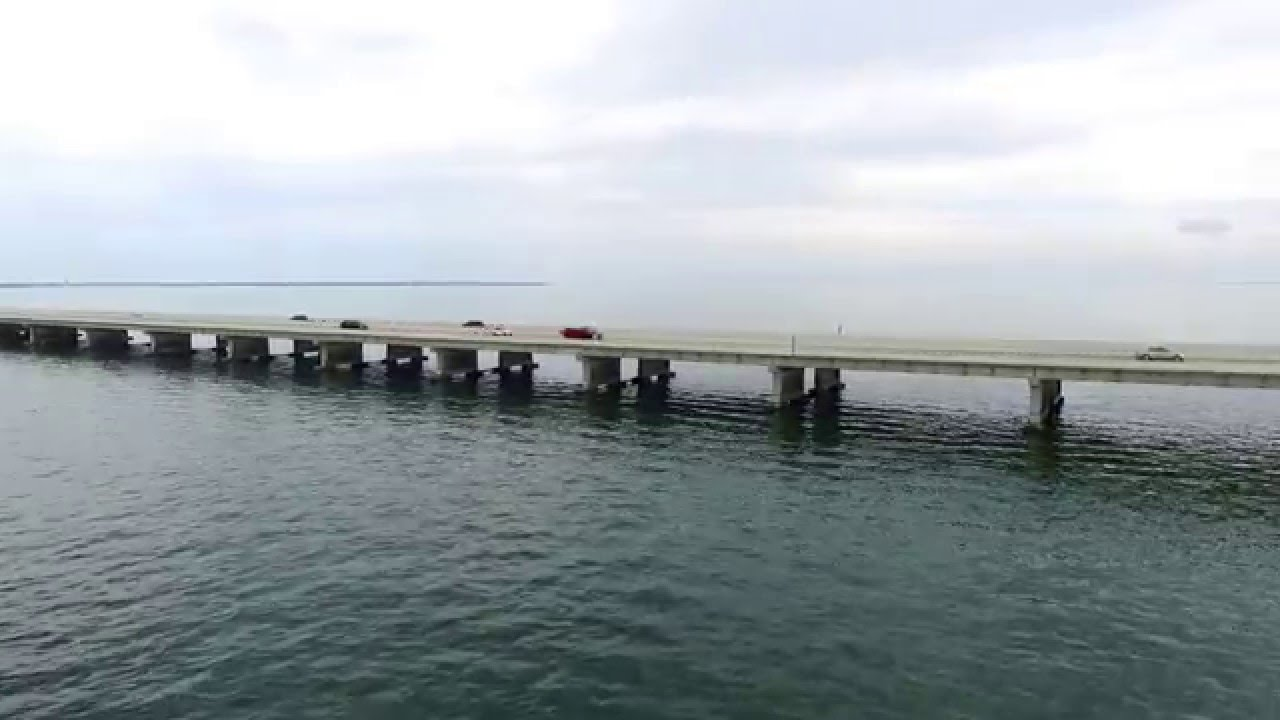 Sunshine skyway bridge from the drone with tampa fishing for Skyway fishing report