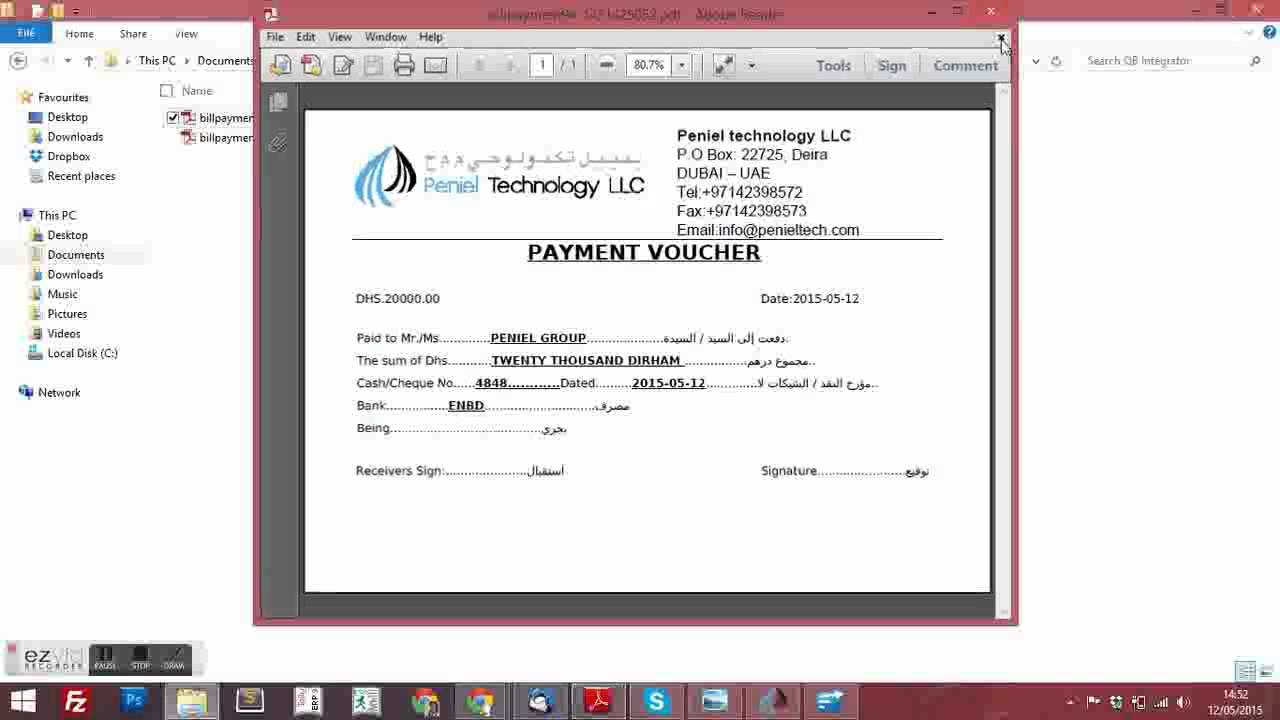 Quickbooks Payment Voucher Customization   Call +971509617708  Peniel  Technology LLC   YouTube  Payment Voucher Template