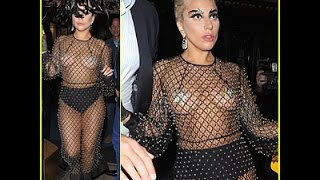 Lady Gaga Shows Off Boobs & Underwear in Barely There Fishnet Outfit | Celebrity News