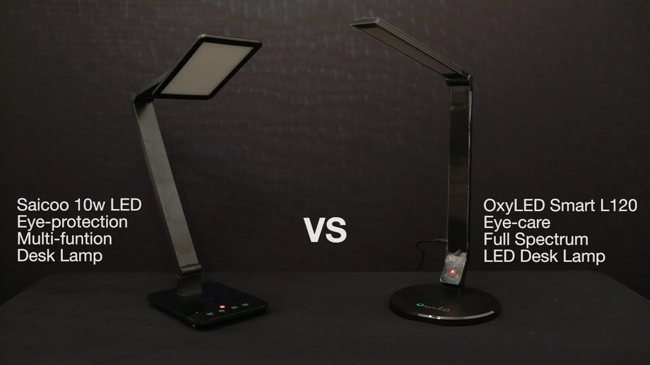 best led desk lamp comparison review oxyled l120 vs saicoo 10w desk. Black Bedroom Furniture Sets. Home Design Ideas