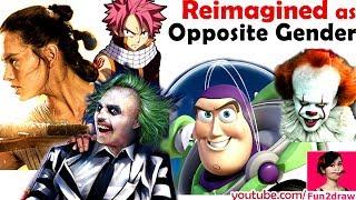 REIMAGINE 5 Characters as Opposite Gender | NEW ART CHALLENGE