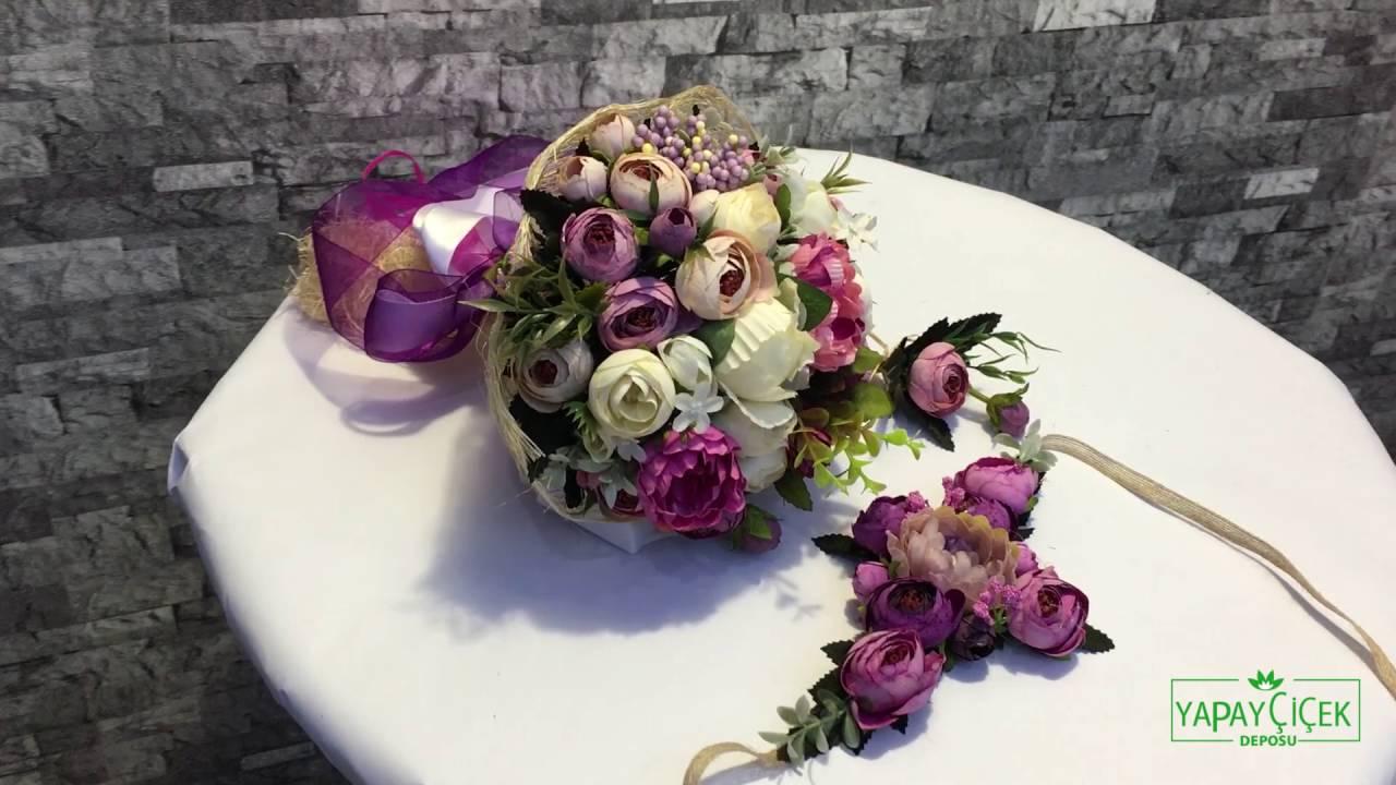 Ankara Gelin Buketi 3lü Setgelin Buketi Gelin Tacı Yaka çiçeği