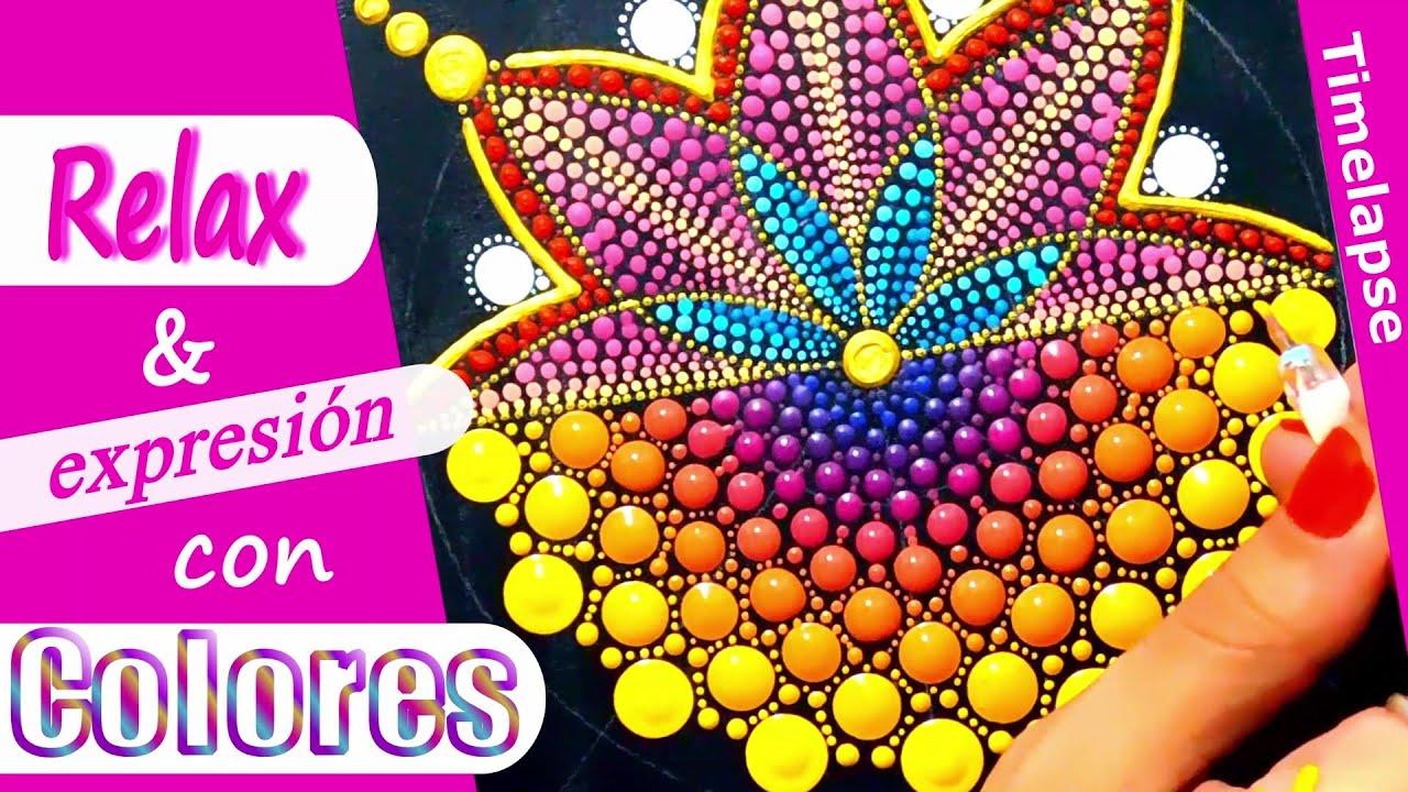 Mandala con acrílicos, punto por punto y con mucho color