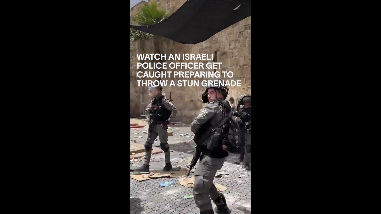 Watch an Israeli Police Officer Get Caught Preparing to Throw a Stun Grenade #Shorts