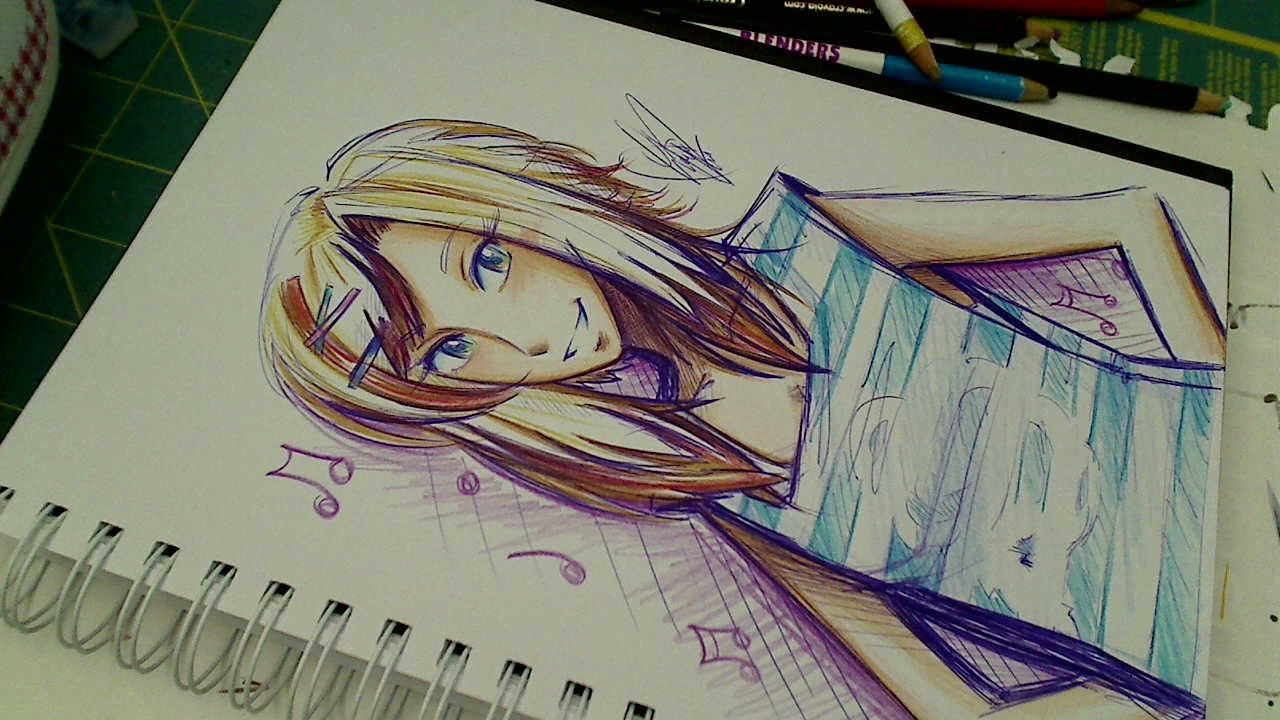 The crayola challenge ballpoint pen colored pencil sketch oc piper youtube