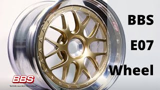 Get a detailed view of the exquisite BBS E07 wheel.   The BBS E07 3-piece wheel is designed for track use and engineered for the factory center lock hubs for Porsche GT3 street models.   Shown here in gold, the E07 follows the traditional proven BBS multi