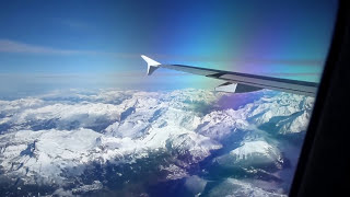 Flying over the alps and Mont Blanc mountain