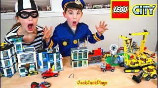 Pretend Play Lego Police Bank and Construction Truck Heist | JackJackPlays