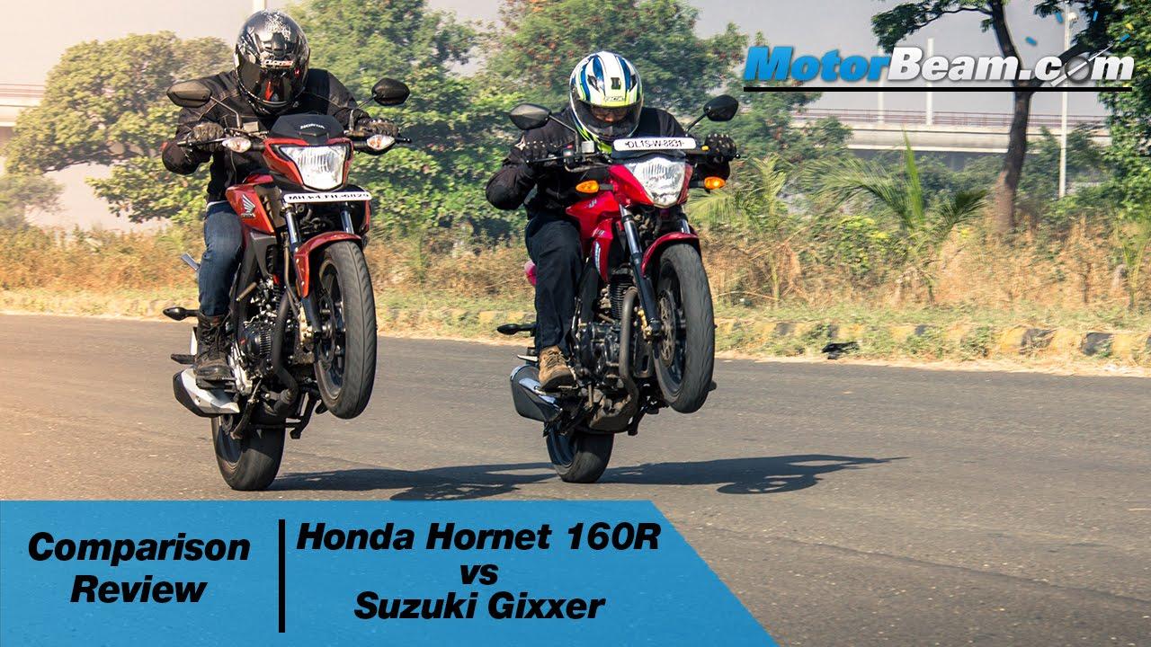 Honda Cb Hornet 160r Vs Suzuki Gixxer Comparison Review Motorbeam Youtube