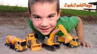 One of JackJackPlays's most viewed videos: Construction Vehicles toys for kids: Toy UNBOXING - MB Excavator Dump Truck Cement Mixer Loader