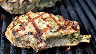 Grilled Thick-Cut Veal Chops with Herb Marinade