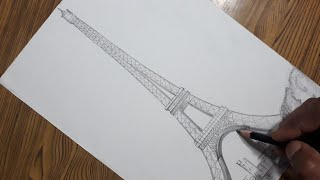 How to draw Eiffel Tower step by step very easy